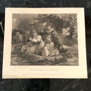 """Children In A Storm - 6"""" x 7"""" - Antique Engraving"""